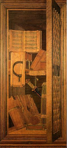 ) I Intarsia panel from the studiolo of Federico da… Michelangelo, Renaissance Music, Wooden Pattern, Parquetry, Italian Art, Amazing Architecture, Pretty Pictures, Wood Art, Sculpture Art