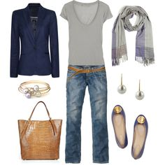 """Blue and Gray"" by bluehydrangea on Polyvore"
