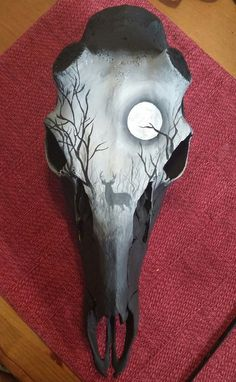 Deer skull shed buck hand painted with buck by BoneCanvas on Etsy