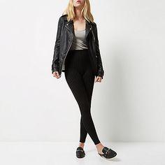 Zwarte legging met krijtstreep en hoge taille - leggings - broeken - dames