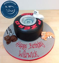 Tyres and cats cake, made by The Foxy Cake Co!