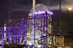 Soarin' Eagle at the Scream Zone in Luna Park, Coney Island (amusement park, Brooklyn, lights, night)