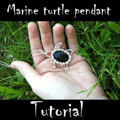 Marine turtle pendant - Tutorial on Etsy, $7.57