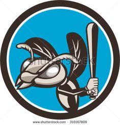 Illustration of a hornet wasp (vespa crabro) baseball player batting, set inside…