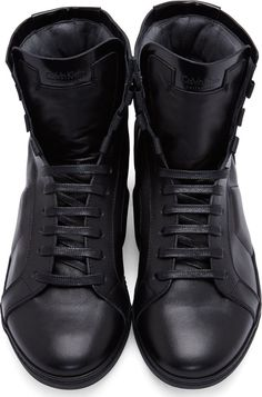 Calvin Klein Collection Black Leather Paneled High-Top Sneakers