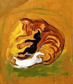 Franz Marc - Cat with Kittens - 1912 http://alongtimealone.tumblr.com/post/44733496138/bofransson-cat-with-kittens-franz-marc-1912