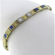 Arts and Crafts 0.30ct Diamond 1.20ct Sapphire Gold Bracelet