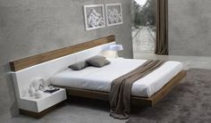 Spain Made Ultra Modern White And Walnut Floating Platform Bed (KING) #Modern