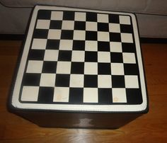 Vintage Black & White Chess Board Top Vinyl Foam Ottoman Furniture Game Room find me at www.dandeepop.com