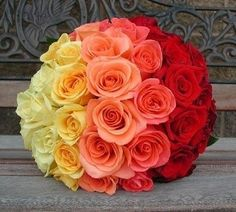 Ombre Roses Wedding Bouquet