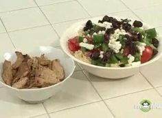 Greek Salad Topped Hummus Dip with Spiced Pita Chips