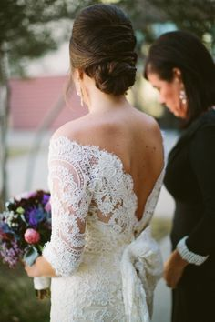 Long sleeves wedding dress.