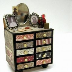 Create a Matchbox vanity with full embellishments miniatures. Step by step video.