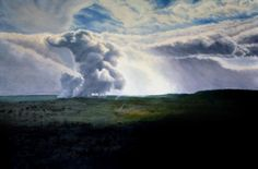 Fumarole of the crater at Hawaii Volcanoes National Park. Original oil on gallery wrapped linen, on 1 1/2 inch deep stretchers. The edges are hand painted, providing a finished look, suitable for framing, or beautiful left as is.  40 x 60 inches