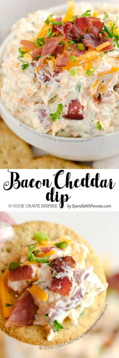 This delicious Bacon Cheddar Cheese dip takes just 5 minutes to make and is the hit of every party! Perfect for chips, crackers or veggies. (Dip Recipes For Chips) Yummy Appetizers, Appetizers For Party, Appetizer Recipes, Party Snacks, Party Dips, Party Games, Italian Appetizers, Fingers Food, Chutney
