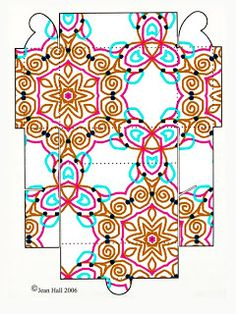 Printable Boxes: Beautiful pencil line patterns on printable gift boxes - Rectangular shaped.