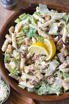 Chicken Caesar Pasta Salad is the perfect dish for summer. Loaded with traditional Caesar Salad ingredients in a creamy garlic lemon dressing this meal is both  flavorful and filling. I love that can be made ahead of time and served on the hottest of days, offering relief from the heat of the oven!