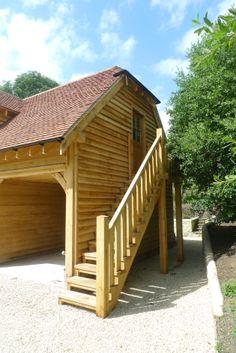 #oak stair case on an oak garage