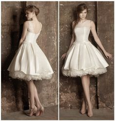 Free shipping Fashion Sheer Neckline Knee Length A line Custom-made Wedding Dress Bridal Gown (http://www.globebuy.com/i/509797.jhtml)