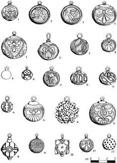 "West Slavic gombíky pendants discovered in the archaeological site of Pohansko in Břeclav, Czech Republic (then: Great Moravia), 9th century. Source: Sebastian Brather ""Archäologie der westlichen Slawen"", 2008 [online read]."