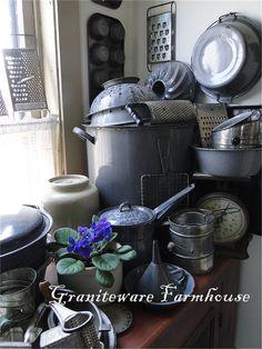 Gray Graniteware LOVE!  by Graniteware Farmhouse blogspot