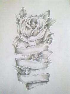 Rose Drawing Rose Tattoo Drawing by =Anako-Kitsune on deviantART. this would be cute if it was wrapped around a leg or arm or something. Rosen Tattoo Mann, Rosen Tattoos, Female Tattoos, Body Art Tattoos, Sleeve Tattoos, Tatoos, Remembrance Tattoos, Memorial Tattoos, Tattoos With Kids Names