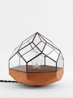 Wood Base Geometric Lamps by Score + Solder | I'd love to see this design as a unique terrarium box too...