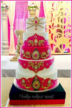 iBake Cakes- Indian Wedding cake, pink and gold