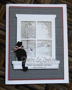 Winter Window Kitty by Wendy Lee Stampin' Up! sponging technique happy scenes stamp set festive fireside framelits hearth & home thinlits Stampin Up, Window Cards, Hearth And Home, Christmas Cards To Make, Christmas Wreaths, Cat Cards, Stamping Up Cards, Card Making Inspiration, Creative Cards