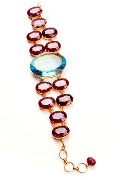 Bounkit Ruby and Blue Topaz Bracelet