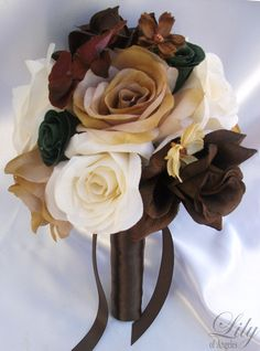 @Amy Crowder hey! saw your board for a wedding (not yours, lol) something about the orange bugged me--17pcs Wedding Bridal Bouquet Silk Flower Camo by LilyOfAngeles, $189.99