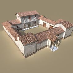 Olly Tyler - digital arts and visual effects: Roman Villa portfolio Roman Architecture, Ancient Architecture, Architecture Design, Architecture Romaine, Courtyard House Plans, Casas Containers, Spanish Style Homes, Village Houses, Roman Empire