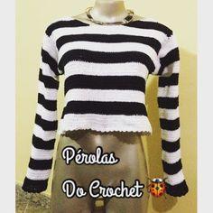 * Pérolas do Crochet: Cropped em crochet listrado