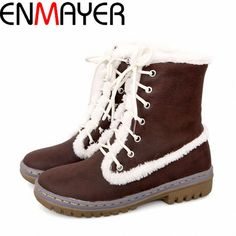 67.06$  Watch here - http://aicdx.worlditems.win/all/product.php?id=1446072645 - ENMAYER Free Shipping! Hot Four-color Cross Straps Casual Warm Winter Snow Boots Martin Boots Girls Plus Size 34-40