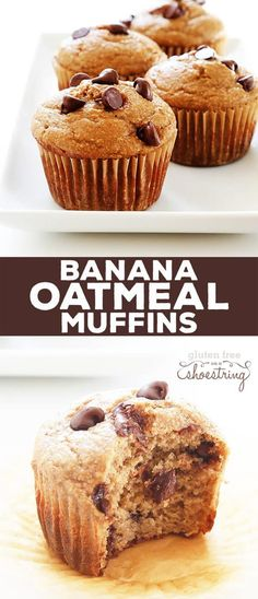 banana oatmeal muffins, use less sugar for riper bananas, substitute 100g of ghee for 100g of the banana, add 6T of flax meal, skip chocolate chips