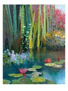 Kent R. Wallis (American, b. 1945): Lilies Adorning the Pond Print