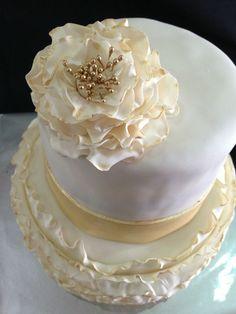 Ruffled gold cake
