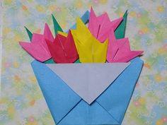 折り紙の花  チューリップの花籠  簡単な折り方作り方 - YouTube