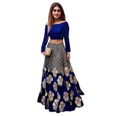 450f3b88b09c6 Buy Akk Enterprise Blue Bangalore Silk Off Shoulder Lehenga online in India  at best price. Beautiful lahengha choli For Girls Material banglori