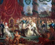 Allegory of the return of the Bourbons on 24 April 1814: Louis XVIII lifting France from its ruins. By Louis-Philippe Crépin in 1814 (Palace of Versailles)