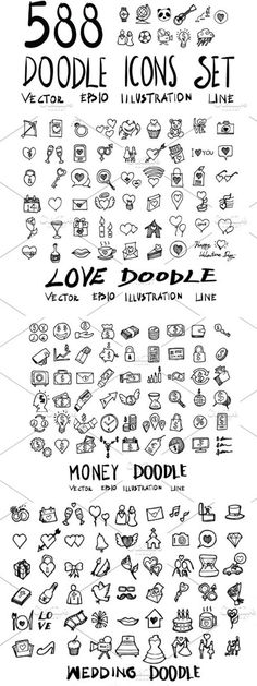 588 hand drawn doodle icons in EPS, SVG, and PNG format. Print as clip art illustrations for your bullet journals, scrapbook pages, and papercrafts. … - New Deko Sites Music Doodle, Doodle Icon, Doodle Art, Scrapbooking Stickers, Scrapbook Pages, Doodle Halloween, Bullet Journal Icons, Bullet Journals, Hand Doodles
