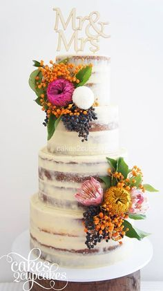 beautiful naked wedding cake ~ we ❤ this! moncheribridals.com #nakedweddingcake