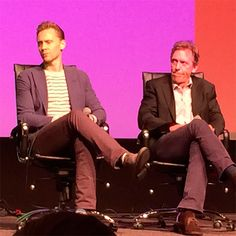 """Tom Hiddleston and Hugh Laurie at the Emmy FYC """"The Contenders"""" event at the DGA Theater, April 10, 2016. Source: https://www.instagram.com/p/BEB_wjHhgDQ/"""
