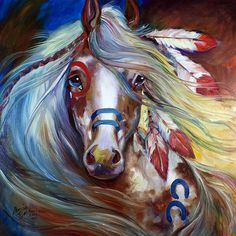 M baldwin original indian war horse oil painting ~ marcia baldwin Painted Horses, Arte Equina, Horse Oil Painting, Native American Horses, Indian Horses, Horse Artwork, Painted Pony, Hand Painted, Horse Drawings