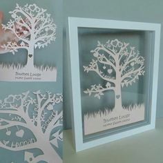 Bespoke Family Tree papercut displayed in a habitat bacall floating frame