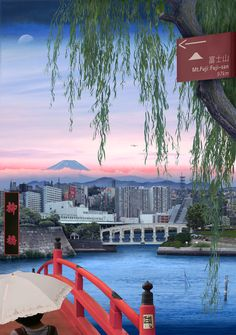 Tokyo Story 10: Willow Landscape (after Hiroshige) 2011 Emily Allchurch at the Matchester Art Gallery