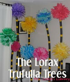 Seuss' The Lorax . Tutorial on making the Lorax Trufulla trees, party decorations, & decorated cookies! - from it's written on the wall Dr. Seuss, Dr Seuss Lorax, Dr Seuss Whoville, Dr Seuss Cake, Der Lorax, Party Mottos, Grinch Party, Classroom Themes, Future Classroom