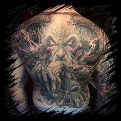 WEBSTA @ liorcifer - More done on this monster today  So much fun!!! Thanks David!!! @infernum_tattoos #liorcifer #liorcifertattoos #tattoo #backpiece #inprogress #blackandgreytattoo #largetattoos #evil #demons #demonstattoo #satanicink #nycink #infernum #infernumnyc #deviltattoo #darkart