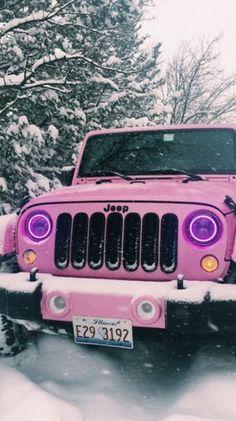 pink Jeep in the snow Auto Jeep, Bugatti, Maserati, Lamborghini, Pretty Cars, Cute Cars, Fancy Cars, Dream Cars, My Dream Car