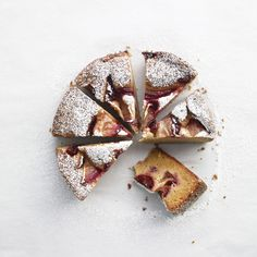 This moist, lemony plum cake needs little more than a dusting of confectioners' sugar. If you like, though, a dollop of sour cream is a delicious accompaniment.